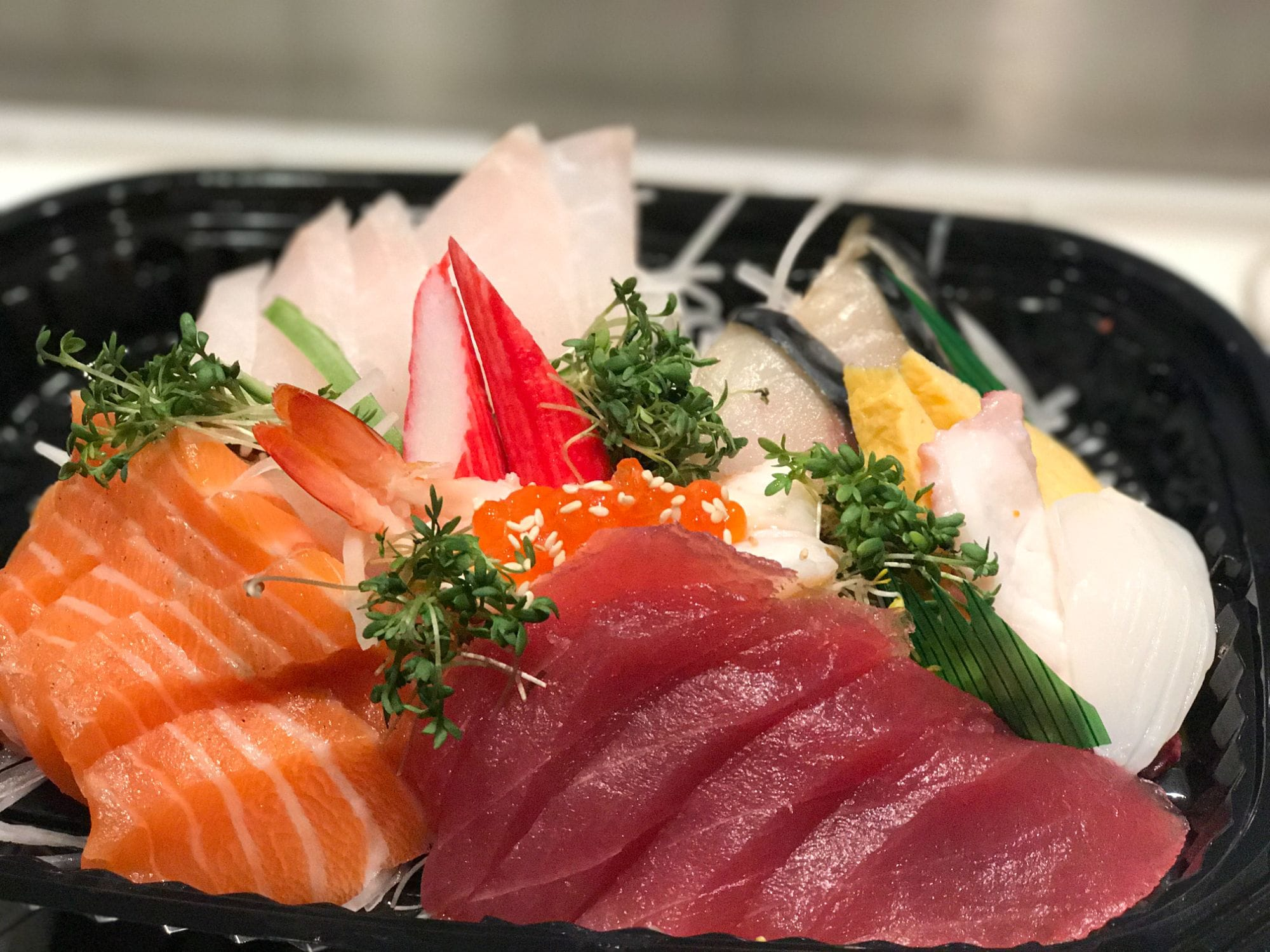 Sashimi set with salmon, tuna, kani, shrimp and others at Sushi Berlin